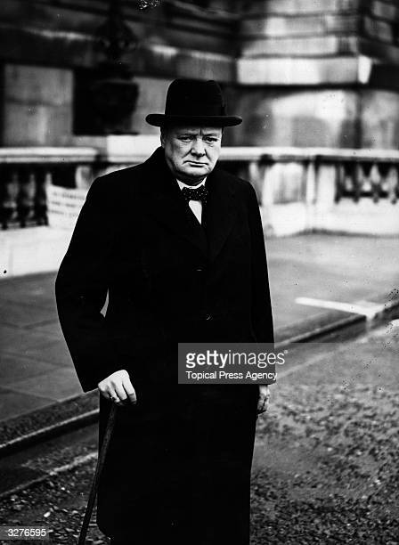 First Lord of the Admiralty Winston Churchill leaving the Admiralty in London