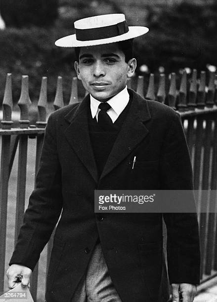Prince Hussein of Jordan, seen in school uniform at 17 years old, when he was studying at Harrow. He was proclaimed King in 1952 when his father was...