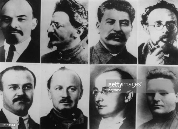 The eight greatest personalities of the Bolshevik Party, who all played a role in the Russian Revolution. Top row, left to right, Vladimir Ilyich...