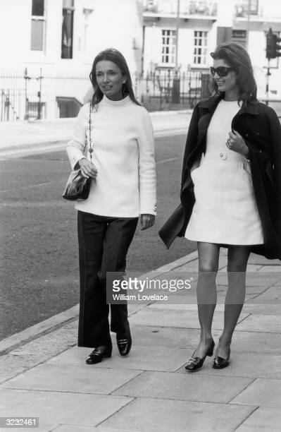 Princess Lee Radziwill in London with her sister Jacqueline Kennedy-Onassis .