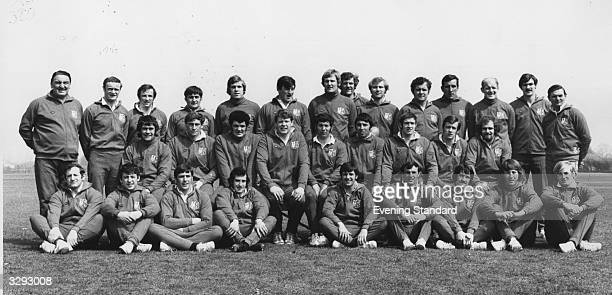 A team photograph of the British Lions rugby side