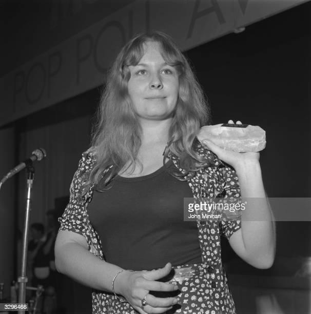 Folk singer Sandy Denny with her award for Best Female Singer in the 'Melody Maker' Pop Awards