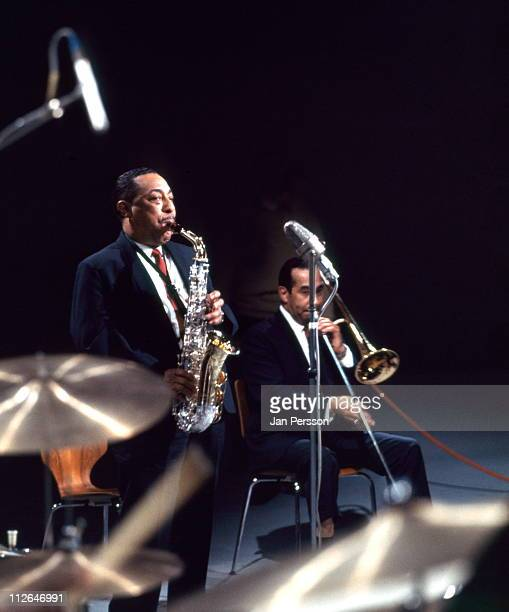 Alto sax player Johnny Hodges in performance with trombone player Lawrence Brown in Copenhagen Denmark in January 1967
