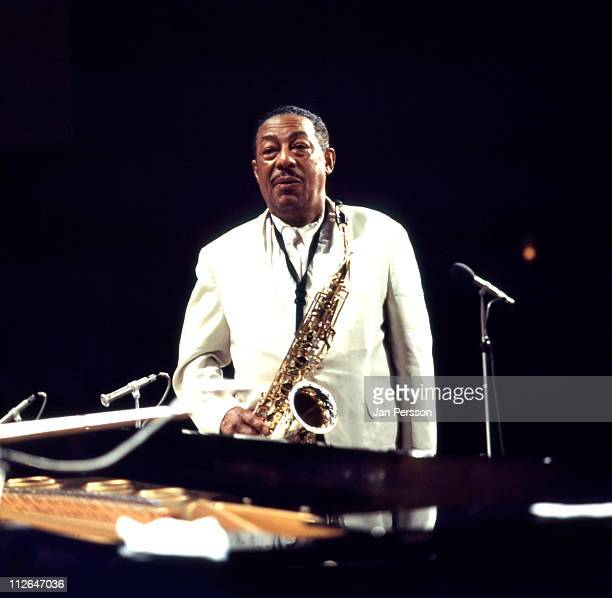 Alto sax player Johnny Hodges posed in the studio in Copenhagen Denmark in October 1969