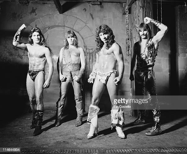 American Heavy metal group Manowar posed in Islington London in October 1984 Left to Right Joey DeMaio Ross 'The Boss' Friedman Eric Adams and Scott...
