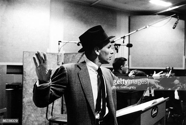 1st OCTOBER: American singer Frank Sinatra in a Los Angeles studio recording 'The Man with the Golden Arm' soundtrack in October 1955.