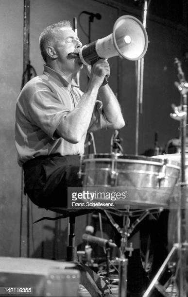1st OCTOBER: Dutch jazz drummer Han Bennink performs live on stage at the BIM Huis in Amsterdam, Netherlands on 1st Ooctober 1986.