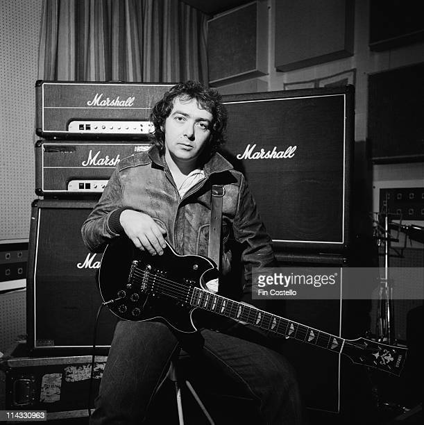 Guitarist Bernie Marsden from the band Whitesnake posed with guitar and Marshall amplifiers in Acton London in October 1983