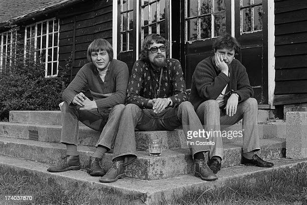 Left to right John Surman Alan Skidmore and Mike Osborne from the SOS saxophone trio posed at Ashford in Kent in October 1973