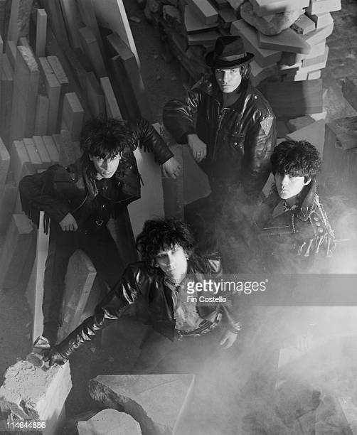 Post punk group The Lords Of The New Church posed in a stonemason's yard in Islington London in October 1984 Clockwise from top Brian James Nicky...