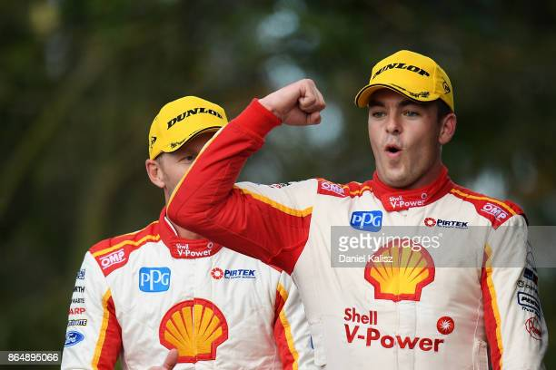 1st place Alex Premat driver of the Shell VPower Racing Team Ford Falcon FGX and Scott McLaughlin driver of the Shell VPower Racing Team Ford Falcon...