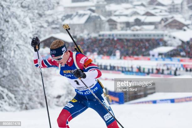 1st place Johannes Thingnes Boe of Norway competes during the IBU Biathlon World Cup Men's Pursuit on December 16 2017 in Le Grand Bornand France