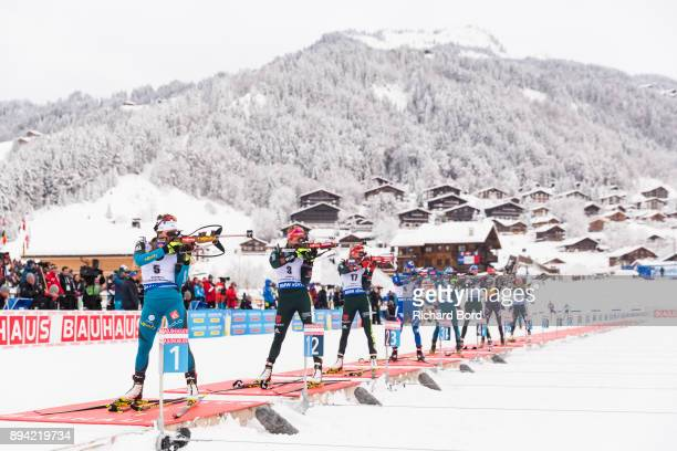 1st place Justine Braisaz of France 12th place Denise Herrmann of Germany and 21st place Maren Hammerschmidt of Germany compete during the IBU...