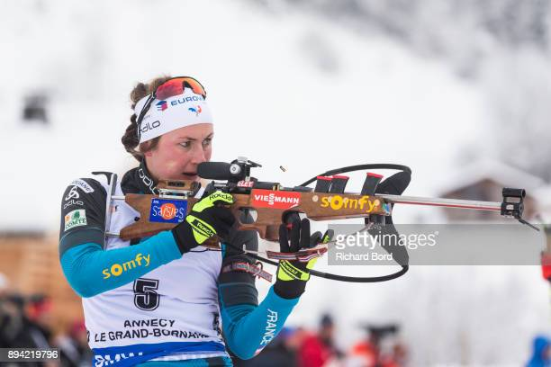 1st place Justine Braisaz of France competes during the IBU Biathlon World Cup Women's Mass Start on December 17 2017 in Le Grand Bornand France
