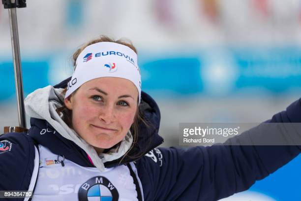 1st place Justine Braisaz of France reacts prior the podium ceremony during the IBU Biathlon World Cup Women's Mass Start on December 17 2017 in Le...