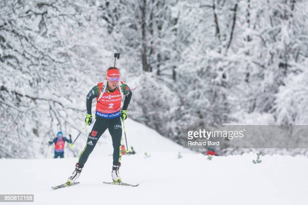 1st place Laura Dahlmeier of Germany competes during the IBU Biathlon World Cup Women's Pursuit on December 16, 2017 in Le Grand Bornand, France.