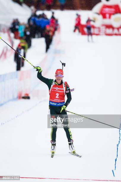1st place Laura Dahlmeier of Germany passes the finish line during the IBU Biathlon World Cup Women's Pursuit on December 16, 2017 in Le Grand...
