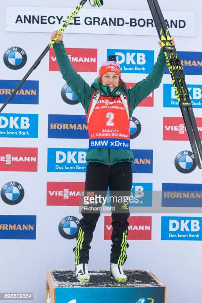 1st place Laura Dahlmeier of Germany poses on the podium after the IBU Biathlon World Cup Women's Pursuit on December 16, 2017 in Le Grand Bornand,...
