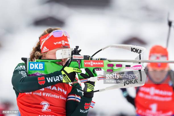 1st place Laura Dahlmeier of Germany shoots during the IBU Biathlon World Cup Women's Pursuit on December 16, 2017 in Le Grand Bornand, France.