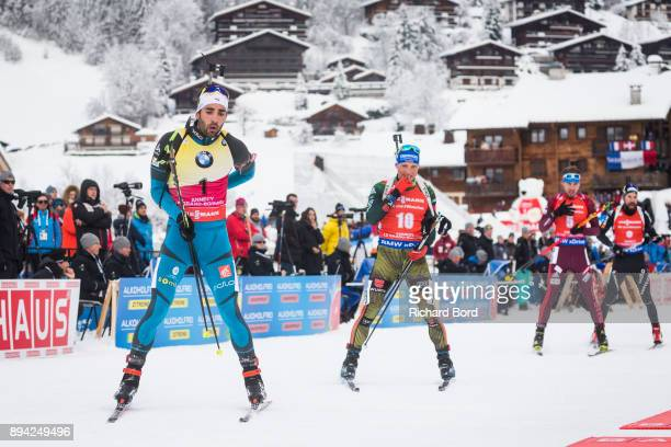 1st place Martin Fourcade of France 3rd place Erik Lesser of Germany 4th place Anton Shipulin of Russia and 5th place Benjamin Weger of Switzerland...