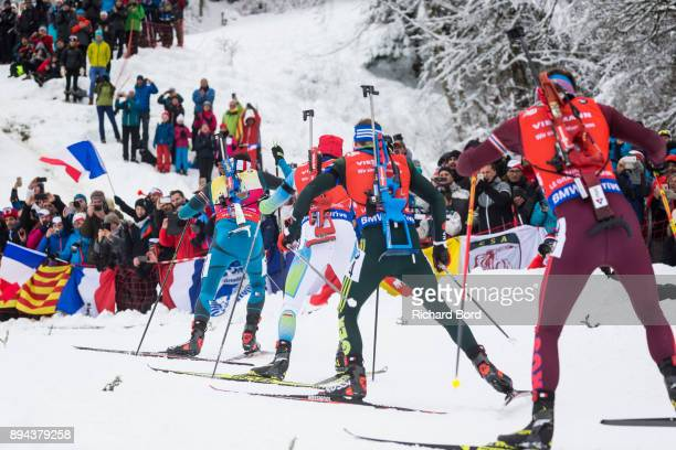 1st place Martin Fourcade of France 8th place Jakov Fak of Slovenia 2nd place Johannes Thingnes Boe of Norway and 25th place Simon Schempp of Germany...