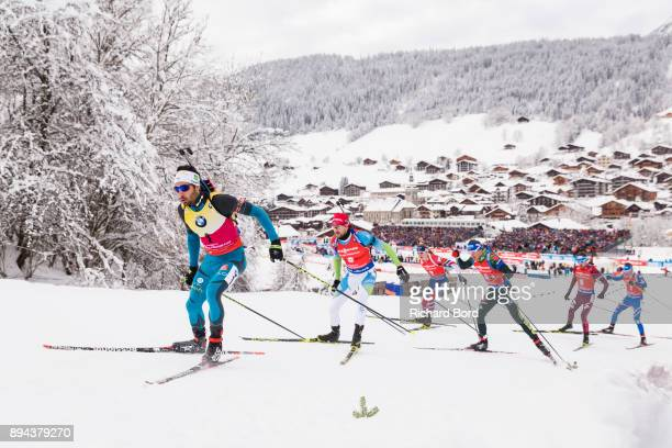 1st place Martin Fourcade of France, 8th place Jakov Fak of Slovenia, 2nd place Johannes Thingnes Boe of Norway, 25th place Simon Schempp of Germany,...