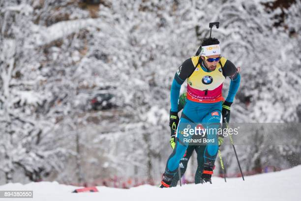 1st place Martin Fourcade of France competes during the IBU Biathlon World Cup Men's Mass Start on December 17, 2017 in Le Grand Bornand, France.