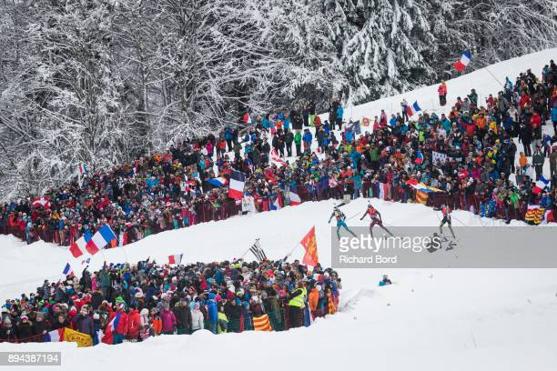 1st place Martin Fourcade of France leads the IBU Biathlon World Cup Men's Mass Start on December 17, 2017 in Le Grand Bornand, France.