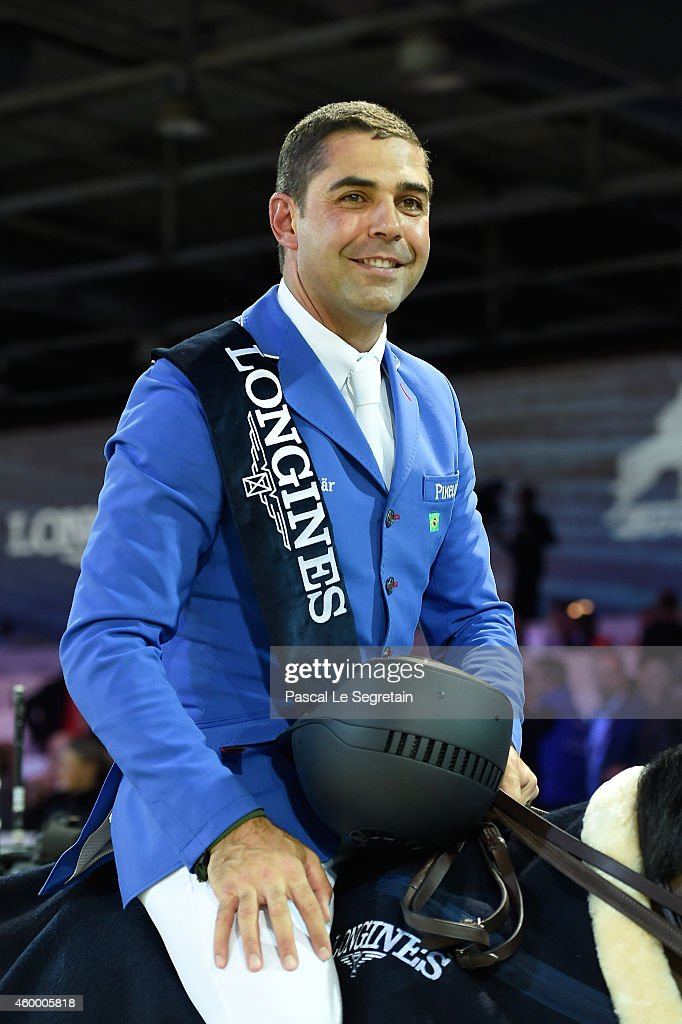 1st place winner Doda de Miranda from Brazil rides AD Nouvelle Europe Z following his win at the Longines Speed Challenge Prix class as part of the Gucci Paris Masters 2014 on December 5, 2014 in Villepinte, France.