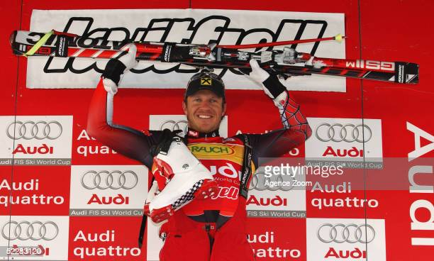 1st placed Hermann Maier of Austria celebrates after the FIS Ski World Cup Mens Super G event March 6, 2005 in Kvitfjell, Norway.