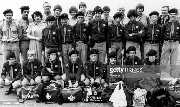 1st Redcar Scouts pictured before heading out to Austerlitz near Utrecht in Holland for camping trip 20th July 1980 Assisitant scout leader Allan...
