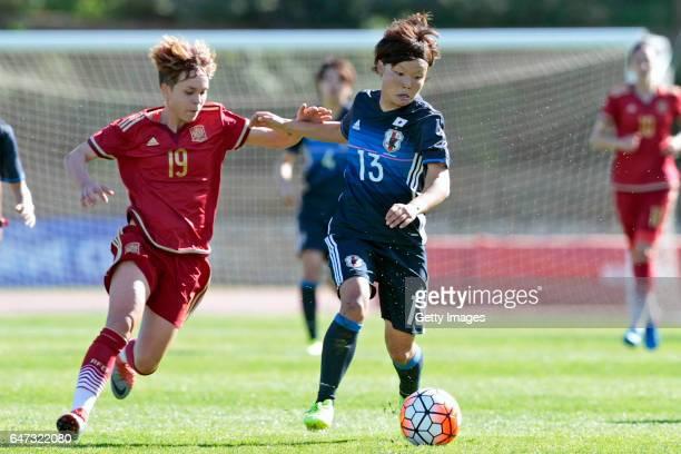 Rika Masuya of Japan Women challenges Amanda Sampedro Bustos of Spain Women during the match between Japan v Spain Women's Algarve Cup on March 1st...