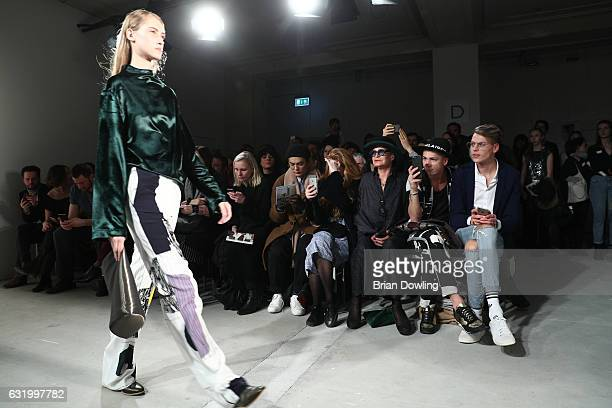 1st row with Maximilian Seitz and Barbara Herzsprung during the Perret Schaad show during the MercedesBenz Fashion Week Berlin A/W 2017 at Kaufhaus...