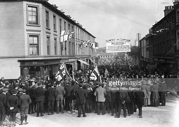 Unionists from district Orange Lodges march to the Manor House Grounds Coleraine County Derry in an AntiHome Rule demonstration