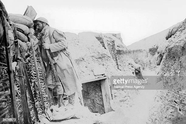 A French sentry on look out duty in the trenches
