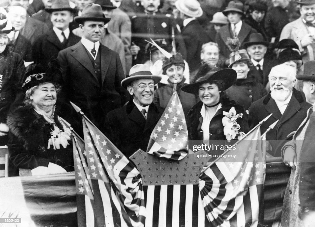 Woodrow Wilson, the 28th President of the United States, and his wife Edith (1872 - 1961), at a baseball tournament.