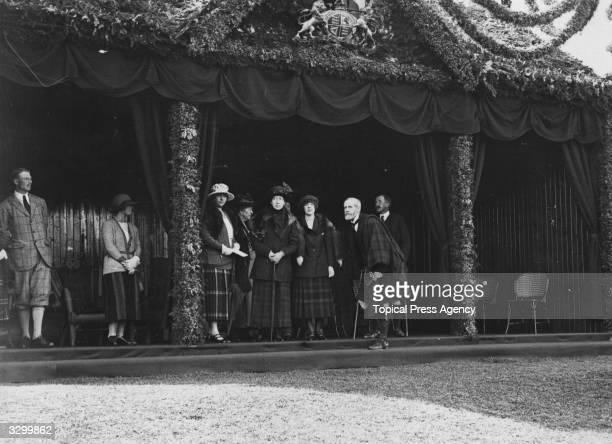 Royal gathering at Braemar, including Princess Maud, ; Louise, Princess Royal , Duchess of Fife; the Duke of Aberdeen; Princess Andrew of Greece ;...