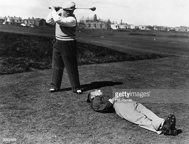 Yorkshire comedians Douglas Wakefield and Sandy Powell messing about on a golf course