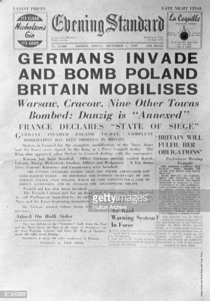 The front page of London's Evening Standard newspaper on 1st September announcing the German invasion of Poland at the start of World War II