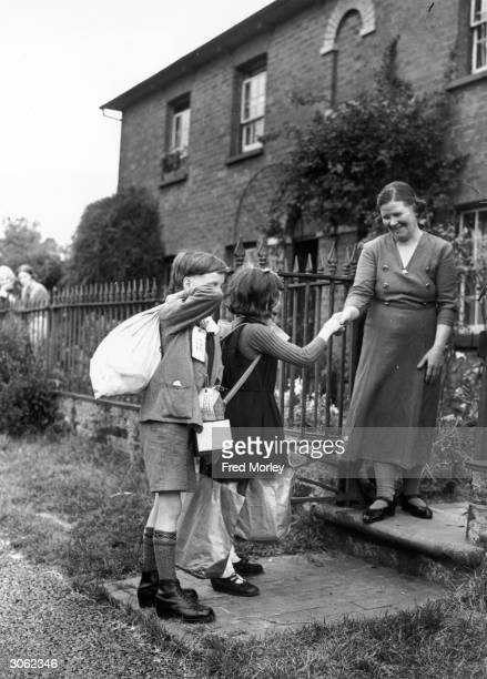 Two young evacuees arriving at their new home in Amersham Buckinghamshire