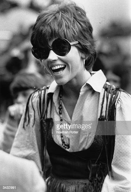 American actress Jane Fonda at the Isle of Wight pop festival