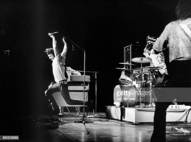 1st SEPTEMBER: American rock group The Doors perform on stage in Denmark in September 1968. Left to right: Jim Morrison , Ray Manzarek , John...