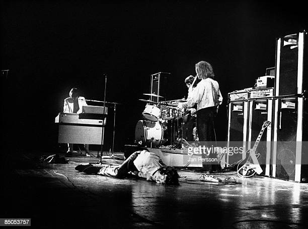 American rock group The Doors perform on stage in Denmark in September 1968 Left to right Ray Manzarek Jim Morrison and Robbie Krieger