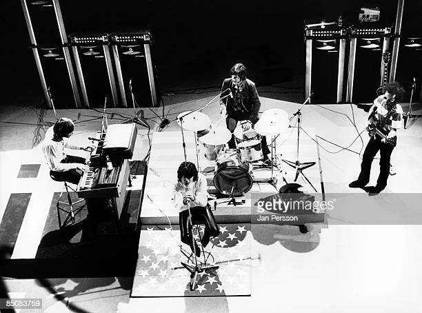 1st SEPTEMBER: American rock group The Doors perform on stage in Denmark in September 1968. Left to right: Ray Manzarek , Jim Morrison , John...