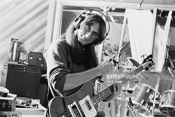 Bass player Geddy Lee from Canadian progressive rock band Rush recording their album 'Permanent Waves' at Le Studio Morin Heights Quebec Canada in...