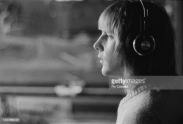 Guitarist Alex Lifeson from Canadian progressive rock band Rush recording their album 'Permanent Waves' at Le Studio Morin Heights Quebec Canada in...
