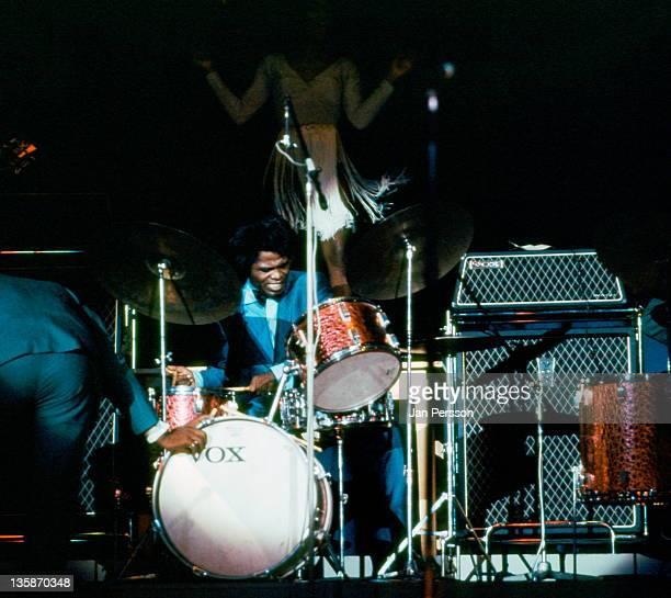 James Brown plays drums live on stage in Copenhagen Denmark in September 1967