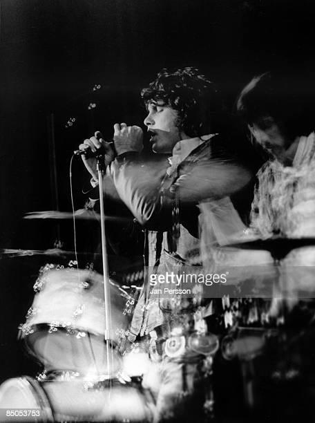 1st SEPTEMBER: Jim Morrison and drummer John Densmore from American rock group The Doors perform on stage in Denmark in September 1968.