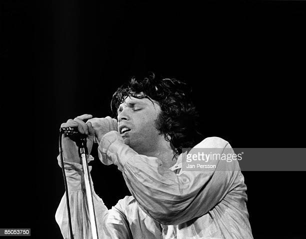 Jim Morrison from American rock group The Doors performs on stage in Denmark in September 1968