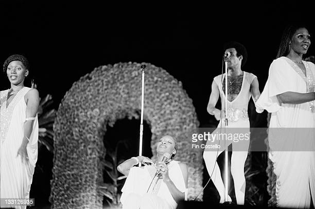 Marcia Barrett Maizie Williams Bobby Farrell and Liz Mitchell from pop group Boney M perform live on stage at Wembley Arena in London in September...